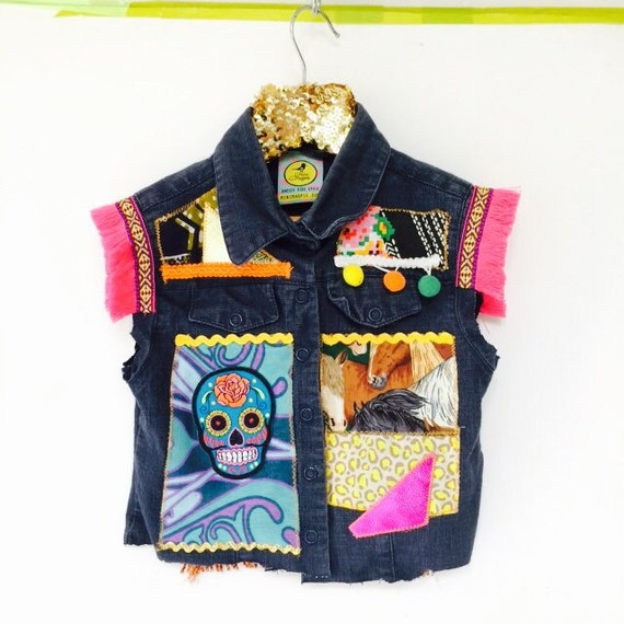DIVE 4-5 Years Denim Jacket Upcycled with Fringe Patch and Pom Pom Trim