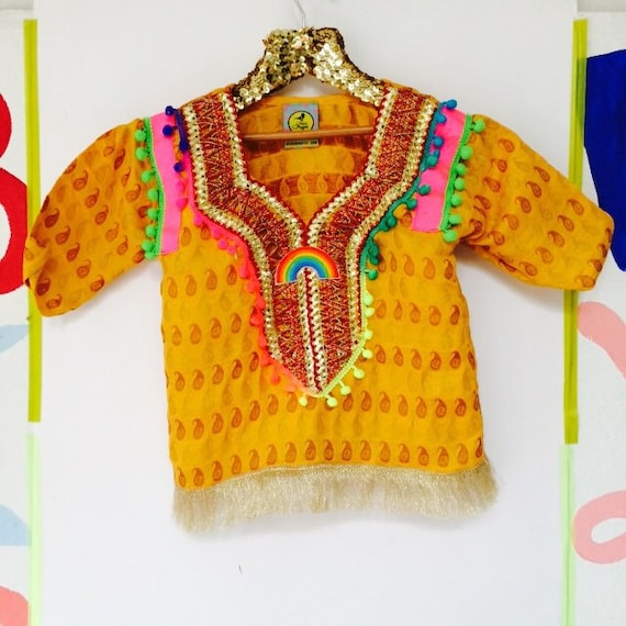 SHOW 3-4 Years Kids Shirt Blouse Top with Appliqué Patch Pom Pom trim in Upcycled Acrylic Unisex