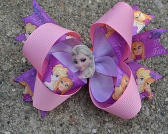 Princess Hair Bow, Ready Ship as Pictued, Frozen Hair Bow