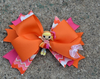 Doll Hair Bow, Pink and Orange  Hiar Bow Ready to Ship as Pictured