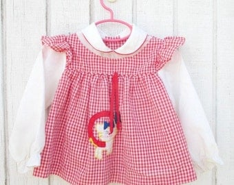 Vintage Baby Dress 2 Years Cat Dress Gingham Toddler Dress Vintage Baby Clothes Little Girl Kitty Dress