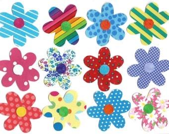 12 Iron on flower appliques DIY