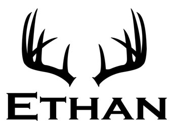 Personalized Hunting Deer Antlers Rack Name  Vinyl Wall Decal Sticker Removable bedroom decal