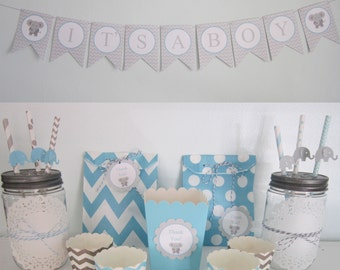 Elephant Party ~ Elephant Straws ~ It's A Boy Banner ~ Thank You Tags ~ Elephant Baby Shower