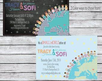 It's a Small World Baby shower Invitation, Adoption