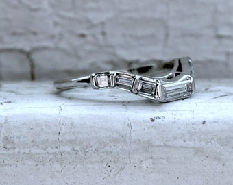 RESERVED - Fabulous Vintage Platinum Baguette and Asscher Diamond Curved Wedding Band - 0.85ct.