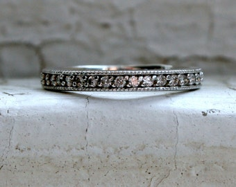 Classic Vintage 14K White Gold Pave Diamond Wedding Band - 0.38ct.