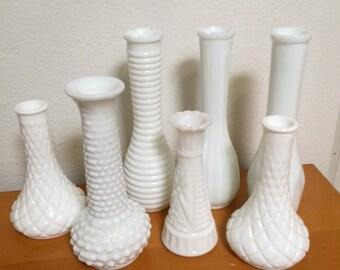 Set of 7 Vintage Milk Glass Bud Vases, Wedding Decor