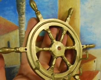 Vintage BRASS SHIPSWHEEL KEYHOLDER