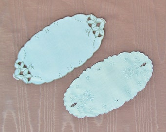 Vintage oval doilies, 2 small embroidered linen doilies with cutwork