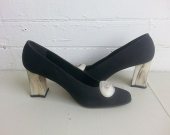 Block heeled 80s pumps size 6