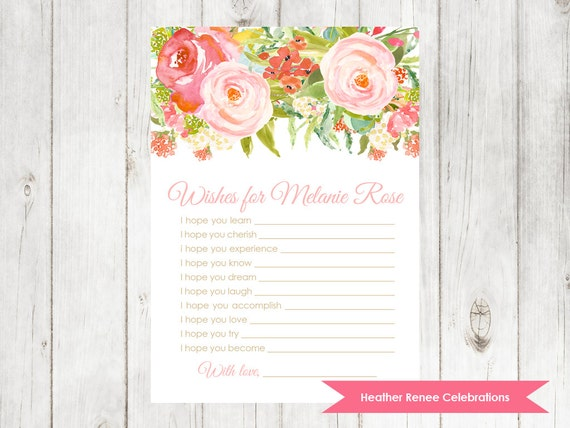 wishes for baby modern baby shower game floral watercolor baby
