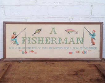 Fisherman Cross Stitch Hanging