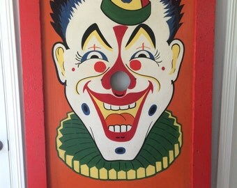 Vintage Carnival Circus Clown Game Hand Painted