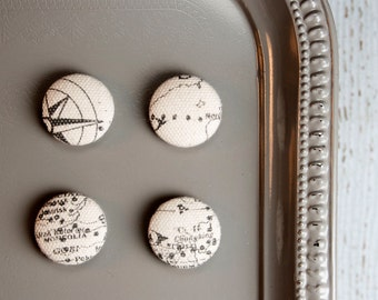 Gray & White Map Fabric Magnets, Set of 4