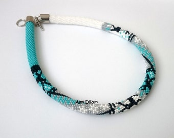 FREE SHIPPING - Happy Christmas - Turquoise - White Bead Crochet Necklace - Beaded Necklace - Crochet Woman necklace