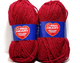 Red Heart Shetland Chunky, Two Skeins in Wine, Bulky Yarn, Acrylic and Wool Blend, Washable Yarn