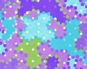 Snuggle Flannel Prints - Camo Dots Purple/Blue - 7/8th yard (31.5 inches)