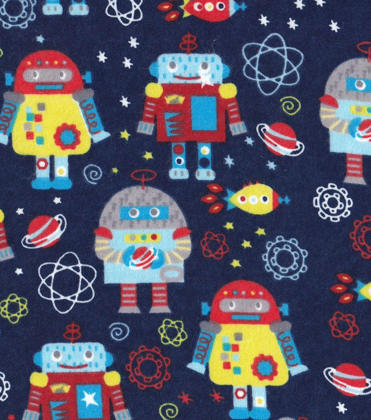 Snuggle flannel prints space robots sold by the yard for Outer space fabric by the yard