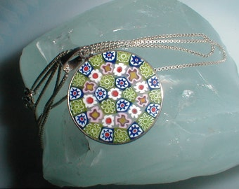 Glass Flower Pendant Necklace With Sterling Chain *Murano Millefiori Style*