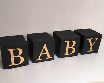 Baby Word Blocks, Photo Prop, Baby Wood Blocks, Black with Gold Letters