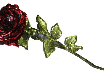Iron On Sequined Rose Flower Hot Fix Patch Applique for Crafts