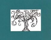 ACEO, Abstract Tree, ATC, Art Trading Card, Original Drawing, Ink, Bird, Kid Friendly