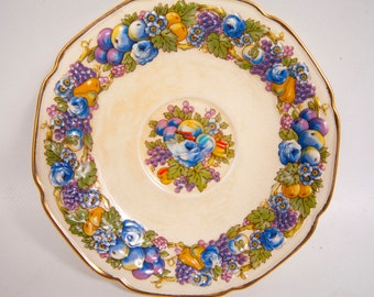 Antique Crown Ducal Florentine Saucer Made in England Pattern 1954 Hand Painted Embossed Relief Fruit Motif
