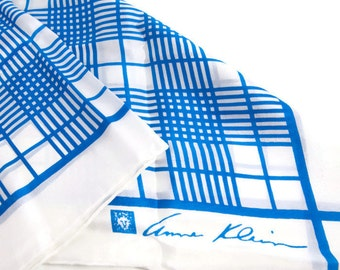 Vintage Anne Klein Silk Scarf Made in Japan for Robinson Golluber Blue and White 21 x 21 Lion Logo