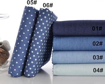 Summer Denim Cotton Fabric, Light Weight, Washed Denim, Print Blue Denim,DIY,Sewing 1/2 yard  (QT823)