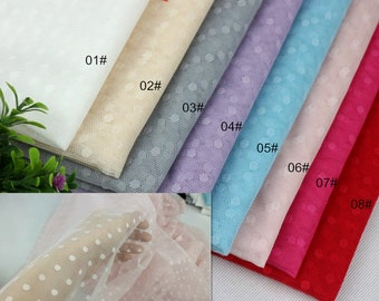 Tulle Lace Fabric with Dot, Net Yarn Wedding fabric, 8 Colors for choice, summer stretch tulle 1/2 yard (W182)
