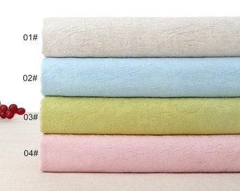 Double Side Jacquard Weave Cotton Linen Fabric Clothing Fabric- 4 colors available Garment Fabric 1/2 Yard (QT955)