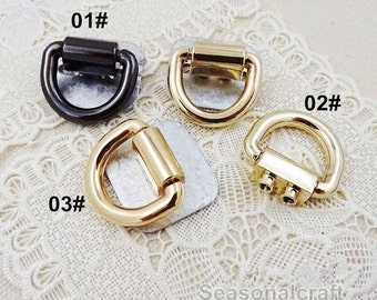 10Pcs 17mm Inner Size D-ring with Screw - For Craft Bag Purse,  Gold Black Colors for choice-- T285