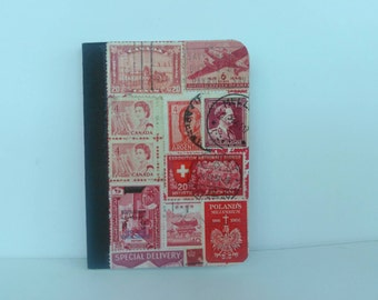 Red pocket notebook recycled vintage postage stamp collage unique travel gift mini composition travel pad