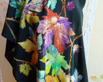 Hand Painted Silk Crepe de Chine Leaf Shawl, Wrap, Scarf in Poppy, Lime, Purple, Teal, Gold, Emerald, Turquoise, Black