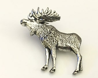 Moose Tie Tack, Bull Moose Lapel Pin, Pewter Tie Pin, Moose Tie Pin, Father's Day, Graduation Gift