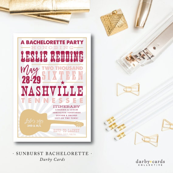 Southern Burst | Bachelorette Southern Party Invitation | Printed or Printable by Darby Cards