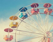 Fine Art Photography - Carnival Photography retro vintage nursery decor photo prints ferris wheel ride blue sky print