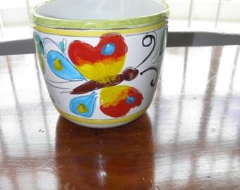 Deruta Vintage Hand Painted Ceramic Porcelain Butterfly Planter