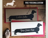Personalized Long Doxie. Note Card -- (Romantic Card, Anniversary, Dog, Cute, Dachshund, Vintage-Style, Weiner Dog, Rustic, Custom Card)