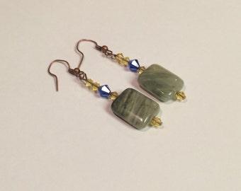 """Women's Earrings: Copper ,Moss Agate & Swarovski Elements """"Abundance """"   By ANena Jewelry"""