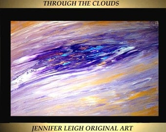 Original Large Abstract Painting Modern Acrylic Painting Oil Painting Canvas Art Gold Purple White Blue 36x24 Textured Wall Art  J.LEIGH