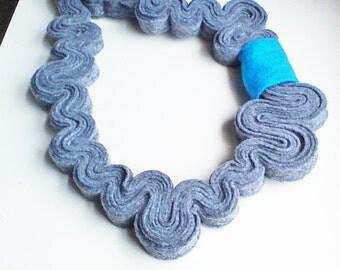 Felt Statement Necklace Felt Necklace Felted Jewelry Recycled Eco Friendly Felt Bib Necklace In Ash Grey, Aqua Bar Necklace