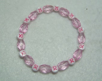 Breast Cancer Awareness Pink Bead Beaded Bracelet