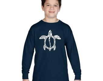 Boy's Long Sleeve T-shirt - Honu Turtle - Hawaiin Islands
