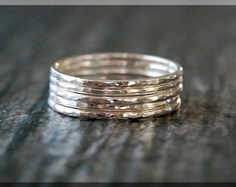 Set of 5 Ultra Thin Hammered Sterling Silver Stacking Ring, Dainty Sterling Ring, Tiny Sterling Stacking Ring, Hammered Thin Stacking ring