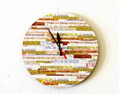 Sale, Rustic Wall Clock, Home Decor, Decor and Housewares, Home and Living, Rustic Decor, Record Clock, Orange and Tan, Unique Clock, Gift I