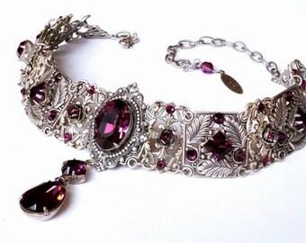 Purple Choker Silver Gothic Choker Amethyst Swarovski Choker Victorian Bridal Silver Choker Bridal Necklace Gothic Jewelry Wedding Necklace