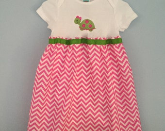 pink and green turtle baby gown/ turtle baby dress