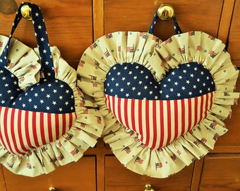 Stars and Stipes PATRIOTIC PILLOW for sale homemade 4th of July AMERICANA decor to hang in your home.